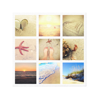 Beach Vacation Custom Nine Photo Collage Canvas