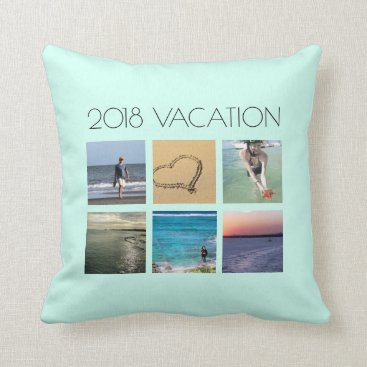 Beach Themed Beach Vacation Family Photo Collage Custom Throw Pillow