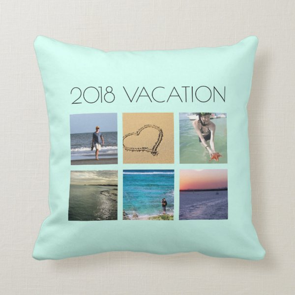 Beach Vacation Family Photo Collage Custom Throw Pillow