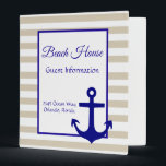 """Beach Vacation House Rental Guide Instructions 3 Ring Binder<br><div class=""""desc"""">This design was created though digital art. This binder can be used by a home owner or property management company. It may be personalized in the area provide or customizing by choosing the click to customize further option and changing the name, initials or words. You may also change the text...</div>"""