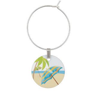 Beach Vacation Wine Glass Charms