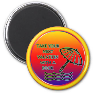 Beach vacation with a book 2 inch round magnet