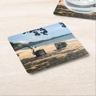 Beach Vendings ... Lamai Beach, Koh Samui Island Square Paper Coaster