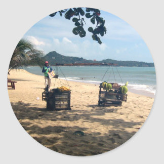 Beach Vendings ... Lamai Beach, Koh Samui Island Classic Round Sticker