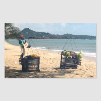Beach Vendings ... Lamai Beach, Koh Samui Island Rectangular Sticker