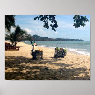 Beach Vendings ... Lamai Beach, Koh Samui Print