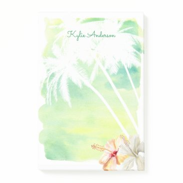 Professional Business Beach Vibes Palm Trees Watercolor | Personalized Post-it Notes