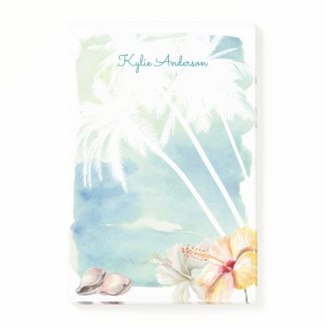 Professional Business Beach Vibes Tropical Watercolor | Personalized Post-it Notes