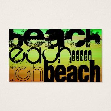Beach Themed Beach; Vibrant Green, Orange, & Yellow Business Card