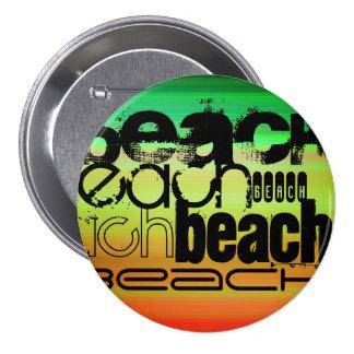 Beach; Vibrant Green, Orange, & Yellow 3 Inch Round Button