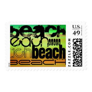 Beach; Vibrant Green, Orange, & Yellow Postage