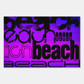 Beach; Vibrant Violet Blue and Magenta Yard Sign