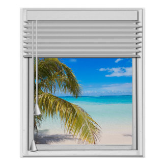 Beach View Artificial Window With Blinds Poster