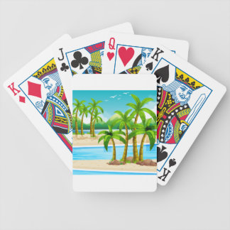 Beach view at daytime bicycle playing cards