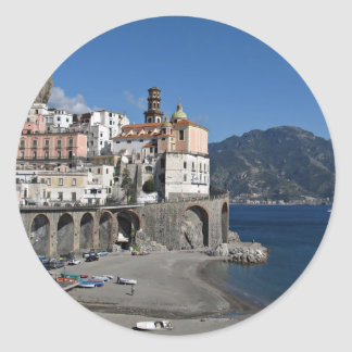 Beach view from Atrani Round Sticker