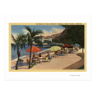 Beach View in Front of Hotel St. Catherine Postcard