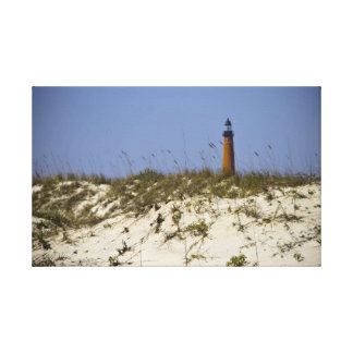 Beach View of Ponce Inlet Lighthouse Wrapped Canva Canvas Print