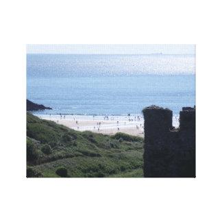 Beach View Past A Castle Canvas Print