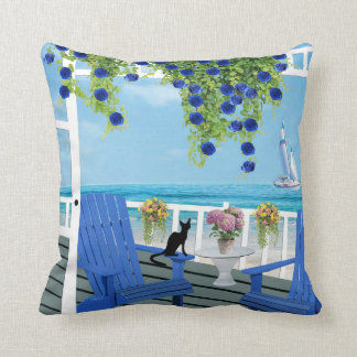 Beach View Porch With Black Cat Silhouette Pillow