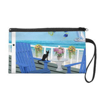 Beach View Porch With Black Cat Silhouette Wristlet