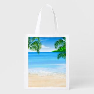 Beach View Reusable Grocery Bag
