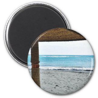 Beach View Under Parasol 2 Inch Round Magnet