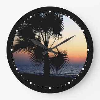 Beach View with Palm Tree Large Clock