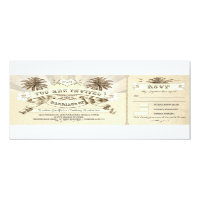 beach vintage typographic wedding invitations