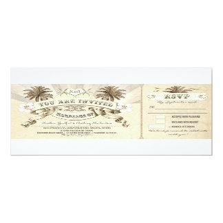beach vintage typographic wedding invitations