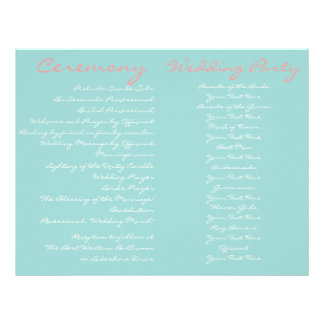 Beach Vintage Wedding Ceremony Program Flyer