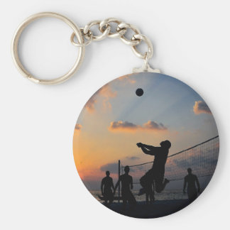 Beach Volleyball at Sunset Key Chains