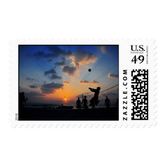 Beach Volleyball at Sunset Postage