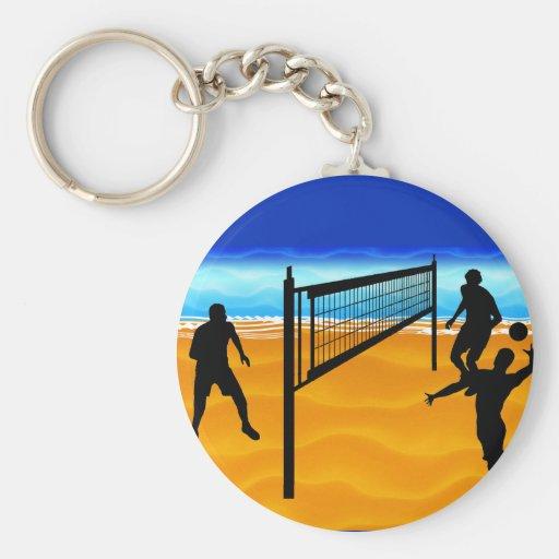Beach Volleyball Basic Round Button Keychain