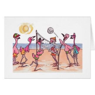 Beach Volleyball Flamingo Notecard