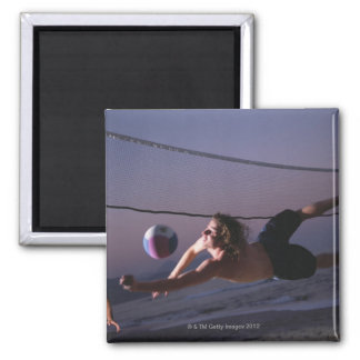 Beach Volleyball Game 2 2 Inch Square Magnet