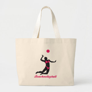 beach volleyball large tote bag