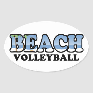 Beach Volleyball Oval Sticker