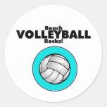 Beach Volleyball Rocks Round Sticker