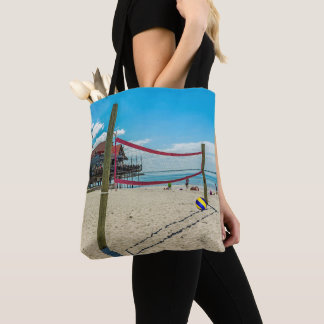 Beach Volleyball Scene Volleyball Net and Sand Tote Bag