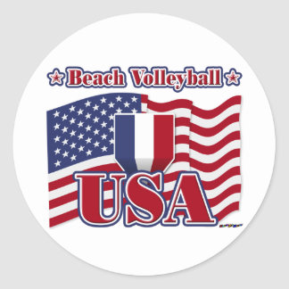 Beach Volleyball USA Classic Round Sticker