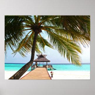 Beach Walk, Cabana, Palm Tree, Maldives Poster