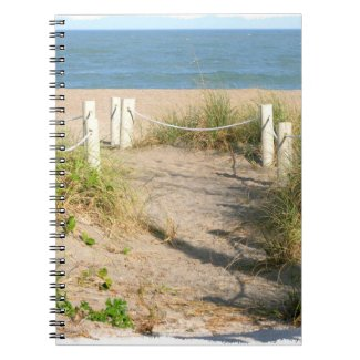 Beach walk dune roped off Florida Beach Color Spiral Note Book