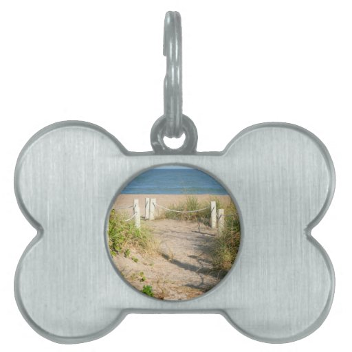 Beach walk dune roped off Florida Beach Color Pet ID Tags
