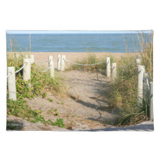 Beach walk dune roped off Florida Beach Color Placemat