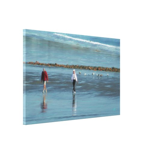 Beach Walk on a Maine Morning Oil Painting Print Stretched Canvas Print