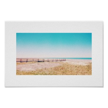 Beach Themed Beach Walkway Pastel Blue Pink Landscape Poster