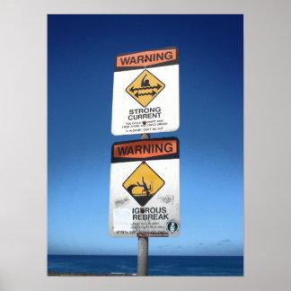 Beach Warning, Oahu Poster