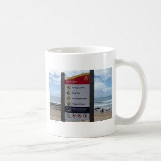 Beach Warning Sign Mugs
