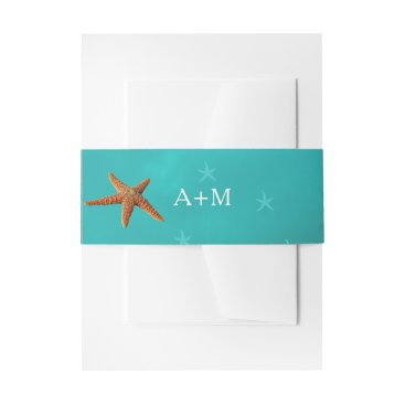 Beach Themed Beach water aqua blue monogram starfish wedding invitation belly band