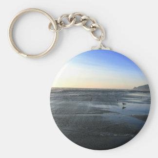Beach Water Basic Round Button Keychain